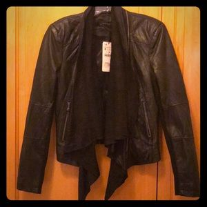 ZARA WOMEN blk leather zip-off drape front jacket